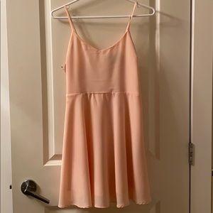 Pink/peach silk mini dress
